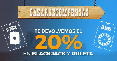 Paston devolución 20% en Blackjack y Ruleta
