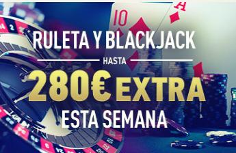 Sportium casino Ruleta y Blackjack hasta 280€ extra esta semana